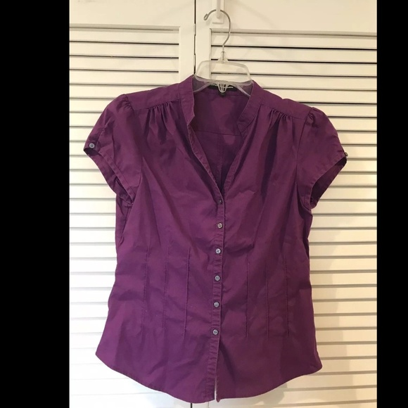 2915f392f Express Tops | Purple Short Sleeve Button Down Blouse Top | Poshmark
